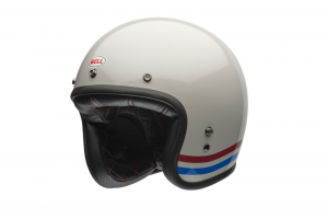 CASCO MOTO JET BELL CUSTOM DLX 500 STRIPES PEARL WHITE