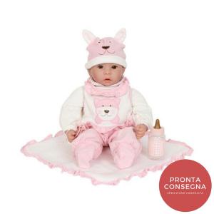 Bambola Emilia con ciuccio tutina berretto e biberon gioco bambine-2