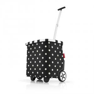 Reisenthel - Carrycruiser - Carrello da spesa a due ruote e tracolla nero pois bianchi cod. OE7051
