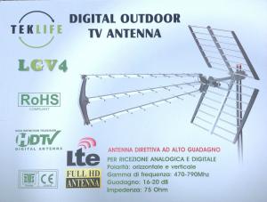 ANTENNA DIRETTIVA TV TEKLIFE ANALOGICA E DIGITALE TERRESTRE HD 16-20 db LGV4 LTE