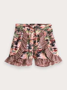 Pantaloncino rosa con fantasia multicolore