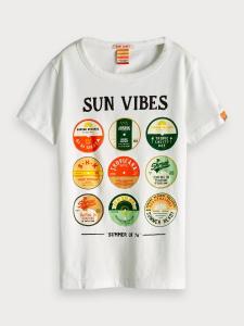 T-Shirt bianca con stampe vinili multicolore