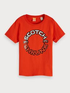 T-Shirt arancione con stampa scritta bianca e nera