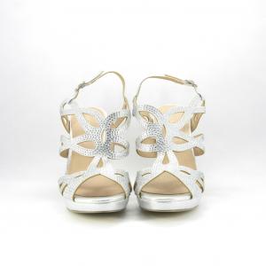 Sandalo cerimonia donna color argento con cristalli strass.