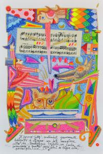 Musante Francesco, ..il povero gatto, sentendosi..,Serigrafia, Form. cm.55x37