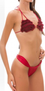 Bikini triangolo e slip regolabile fusciacca Effek