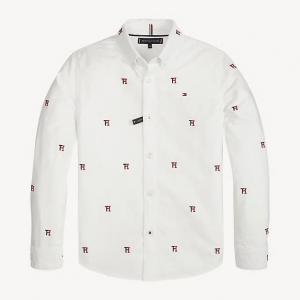Camicia bianca con stampe loghi rossi e neri