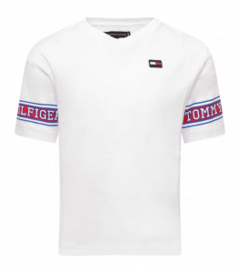 T-Shirt bianca con logo e righe blu e rosse