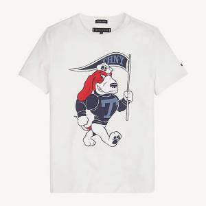 T-Shirt bianca con stampa cane rosso e blu