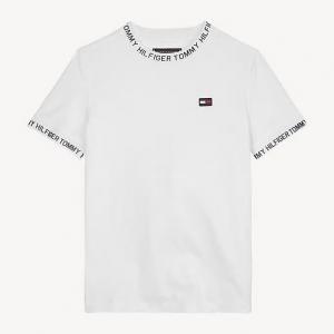 T-Shirt bianca con stampa logo e scritte nere