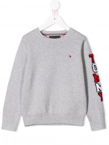 Maglione grigio con logo e scritta rossa e bianca