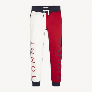 Pantaloni in tuta rossi, bianchi e blu con scritte