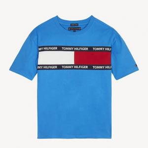 T-Shirt con stampa logo, scritta e righe nere