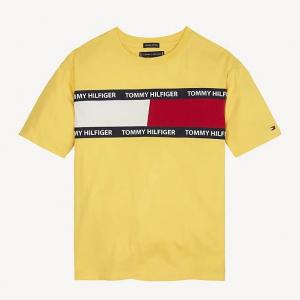 T-Shirt oro con stampa logo, scritta e righe nere