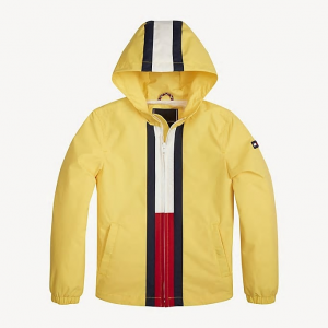 Giubbotto giallo con cappuccio e stampa logo
