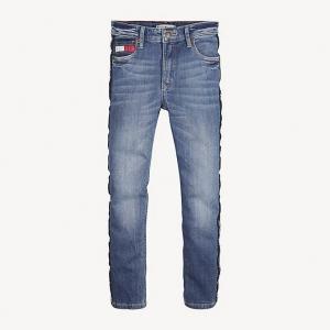 Jeans con stampa riga nera sulle gambe