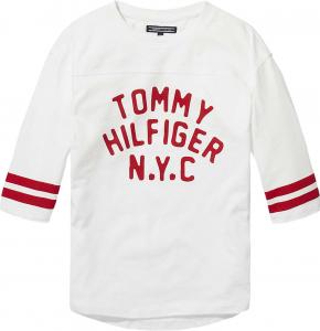 T-Shirt bianca con scritta e righe rosse