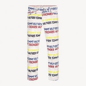 Jeans bianco con stampa scritte multicolore