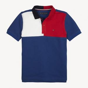 Polo blu con logo e stampa bianca e rossa