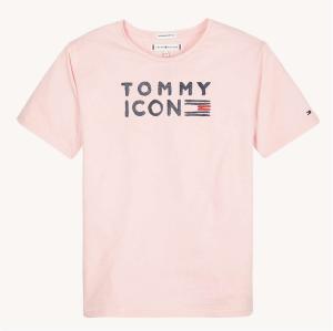 T-Shirt rosa con stampa scritta nera e disegno