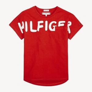 T-Shirt rossa con taschino e scritta bianca