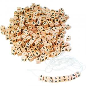 Dadi con lettere da infilare in legno gioco bambini