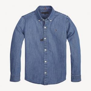 Camicia di jeans a maniche lunghe con ricamo logo