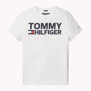 T-Shirt bianca con stampe logo e scritta blu