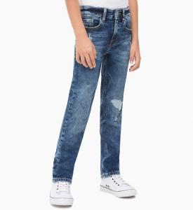 Jeans blu con stampa logo bianco e rosso
