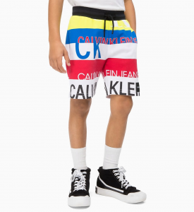 Pantaloncino a righe multicolore con stampe logo