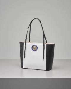 Shopping bag bicolore con logo
