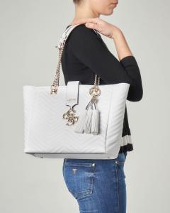 Shopping bag colore bianco in ecopelle effetto trapuntato