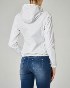 Giubbino impermeabile bianco con cappuccio