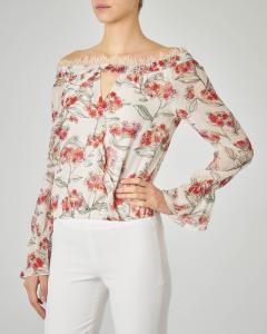 Blusa bianca in viscosa a fantasia floreale con dettagli in pizzo