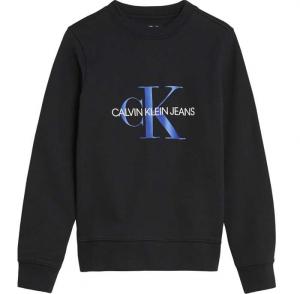 Felpa nera con scritta bianca e logo azzurro