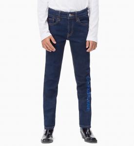 Jeans blu con stampa scritta azzurra