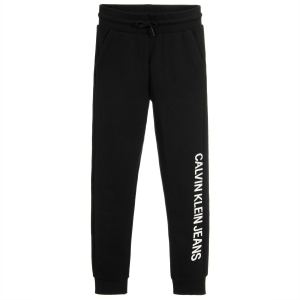 Pantalone di tuta nero con stampa scritta bianca