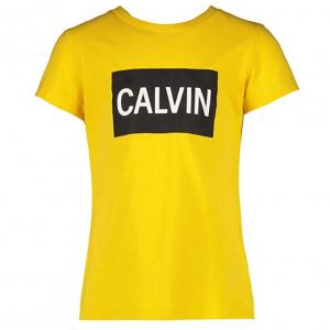 T-Shirt gialla con stampe rettangolo nero e scritta bianca