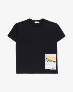 T-Shirt nera con stampa multicolore
