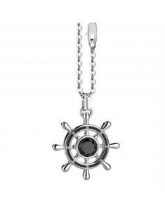 Collana in argento con onice centrale su pendente a timone.