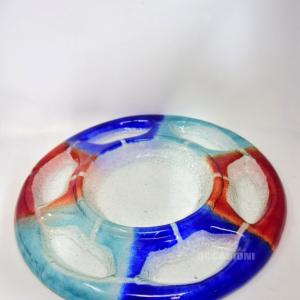 Piatto Antipastiera Vetro Blu Rosso Azzurro Diam.48cm