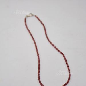 Collana Pietra Granato Rosso, Gancio Argento