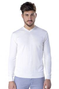Maglia uomo Daniele Fiesoli in cotone scollo a V bianco 369461e0deb