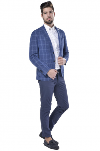 Giacca uomo L.B.M. in cotone e lino a quadri azzurro 1519aac34f3