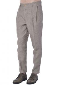 Pantalone uomo Hamaki-Ho in lino effetto melange marrone 66d9891f36b