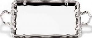 Vassoio rettangolare con manici placcato argento stile 700 cm.47x34