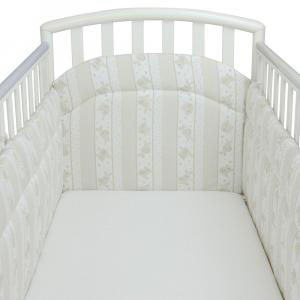 Babysanity Paracolpi per lettino/culla lati corti lunghezza 195 cm (Fantasia riga beige) …