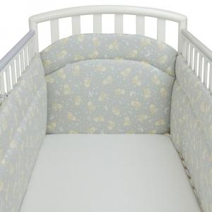 Babysanity Paracolpi per lettino/culla lati corti lunghezza 195 cm (Fantasia pulcino grigio) …