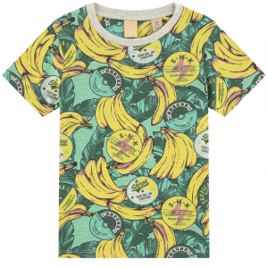 T-Shirt con fantasia foglie verdi e banane gialle