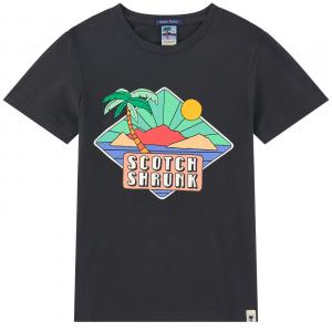 T-Shirt nera con stampa spiaggia multicolore